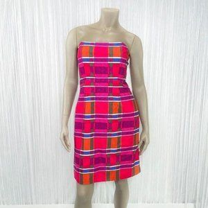 BANANA REPUBLIC Strapless Colorful Plaid Dress 6